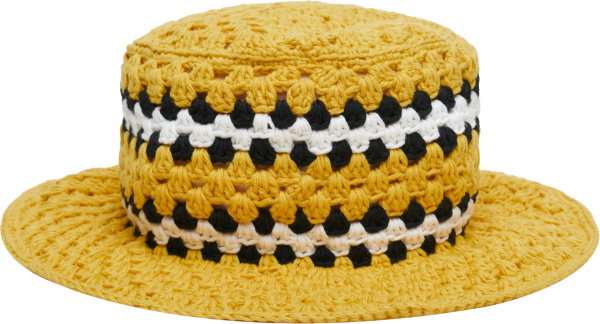 Amiri Yellow Crocheted Bucket Hat