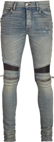 Amiri Zip Detail Distressed Biker Jeans
