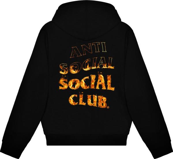 Anti Social Social Club Black Flame Logo Print Hoodie