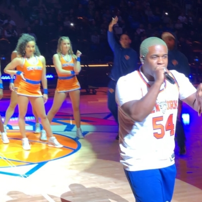 Asap Ferg Performing At The Knicks Half Time Show In Knicks Gear