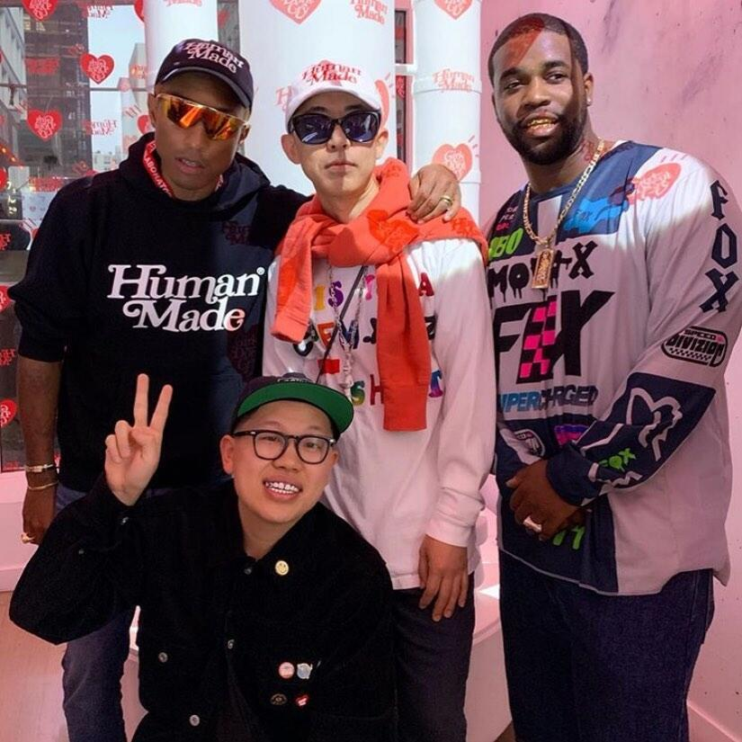 Asap Ferg Wearing A Fox Racing Jersey With Pharrell Wearing A Human Made Girls Dont Cry Hoodie And Hat