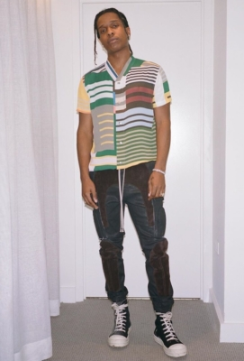 Asap Rocky Poses In Rick Owens Stripe Shirt Suede Panel Pants And Leather High Tops