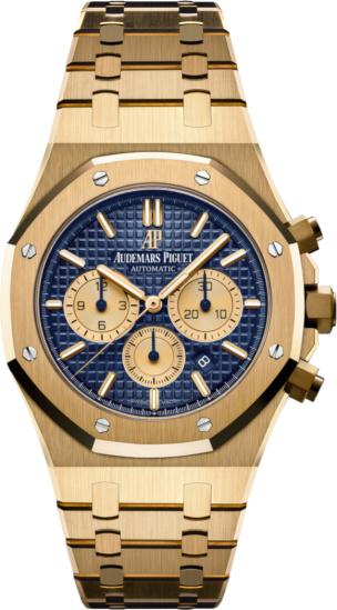 Audemars Piguet Yellow Gold And Blue Dial Royal Oak Chronograph Watch