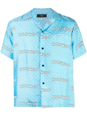 Baby Blue Shirt With White Polkadots And 'hollywood' Print Made By Amiri Worn By Lil Baby