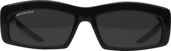 Balenciaga Black Hybrid Rectangle Sunglasses