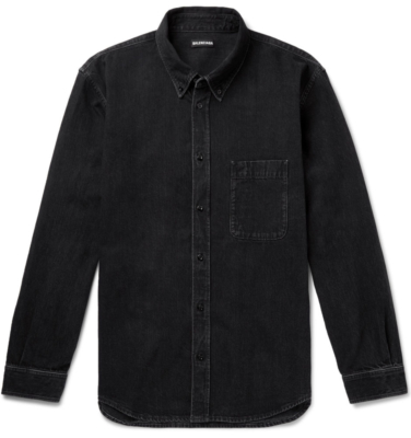Balenciaga Button Down Collar Logo Print Denim Shirt Worn By Juice Wrld