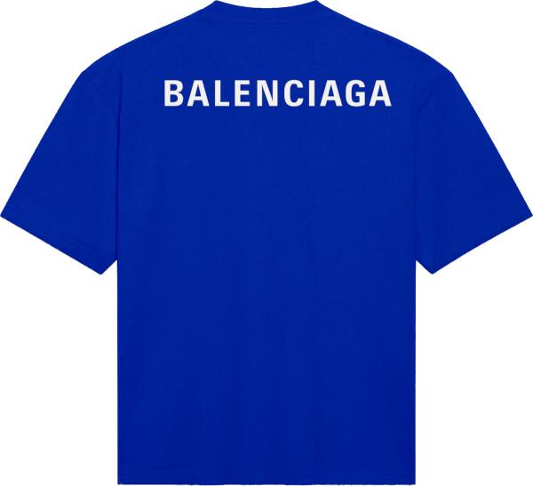 Balenciaga Logo Medium Fit T Shirt Blue
