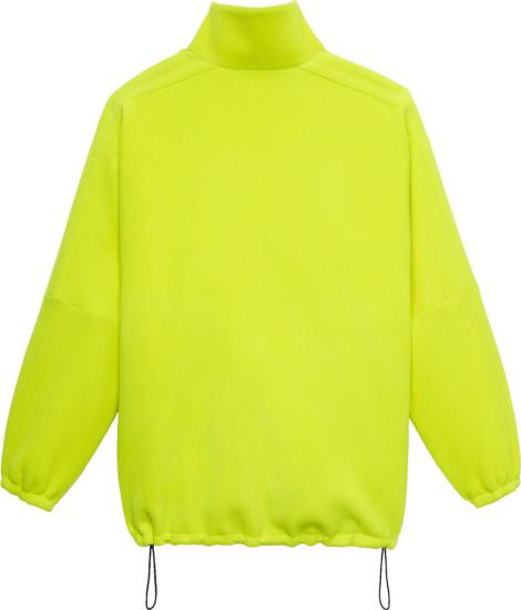 Balenciaga Logo Zip Up Jacket In Neon Yellow Herringbone Wool