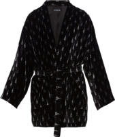 Eiffel Tower Black Velour Robe