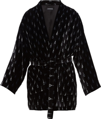 Balenciaga Allover Eiffle Tower Black Robe