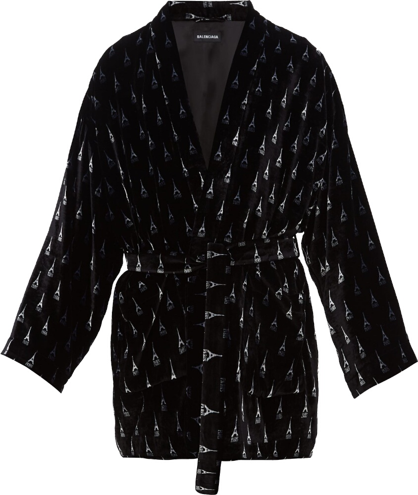 Balenciaga Allover Eiffle Tower Black Robe