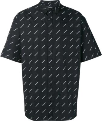 Balenciaga Allover Logo Print Black Shirt