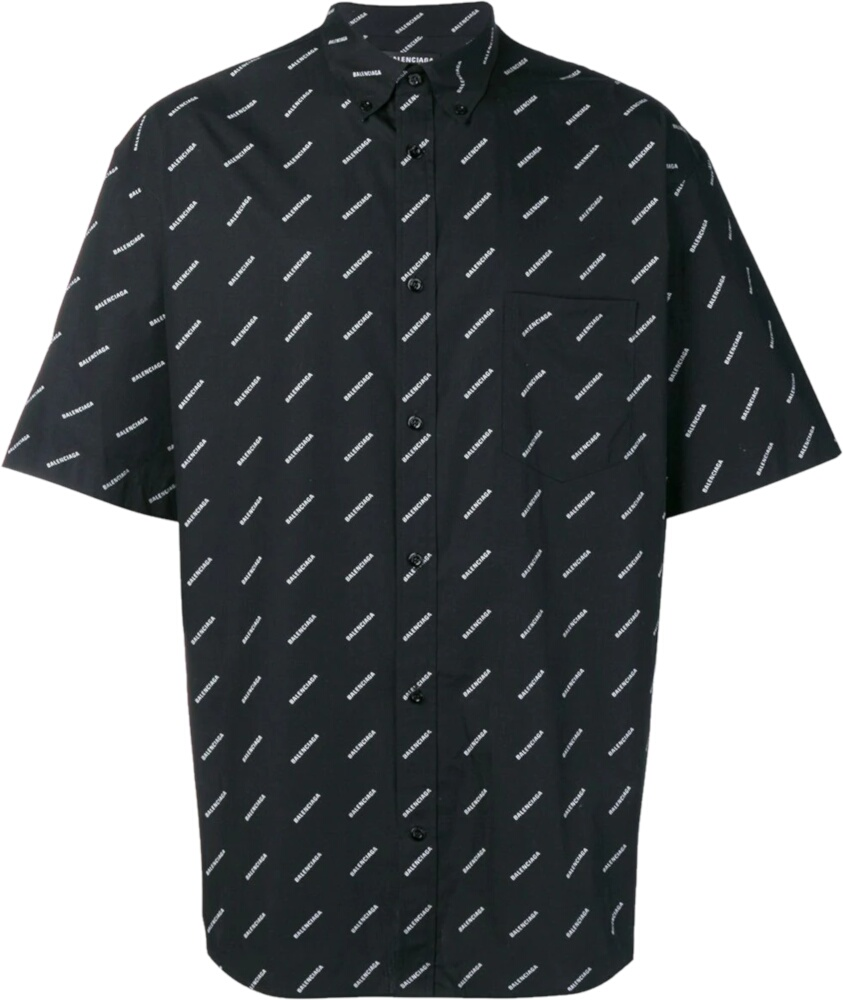 Balenciaga Allover Logo Print Black Shirt