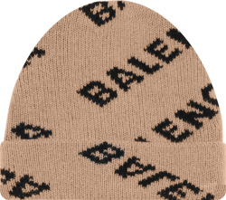 Balenciaga Beige And Black Allover Diagonal Logo Beanie