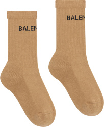 Balenciaga Beige And Black Logo Socks