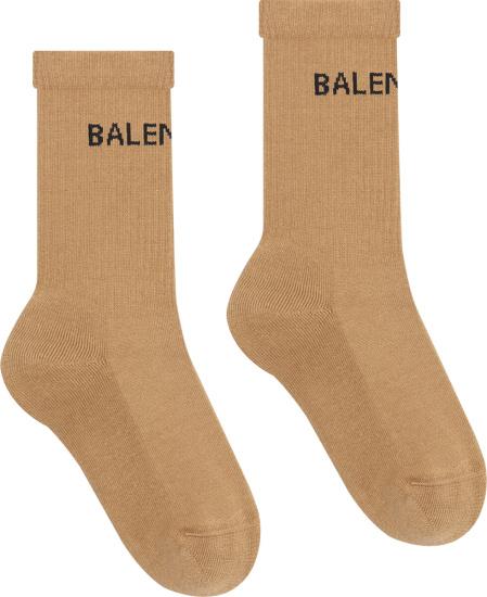 Balenciaga Beige And Black Logo Socks