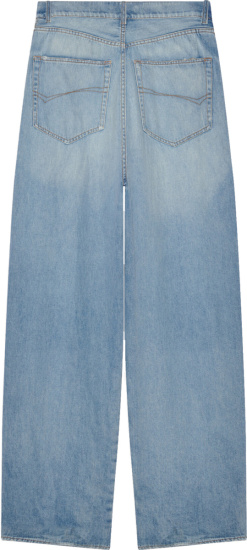 Balenciaga Beige And Blue Denim Hybrid Cargo Jeans