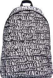 Balenciaga Black Allover Wavy Logo Backpack