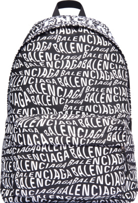Balenciaga Black Allover Wavy Logo Backpack