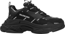 Balenciaga Black And Allover Logo Triple S Sneakers 536737w2fa11090