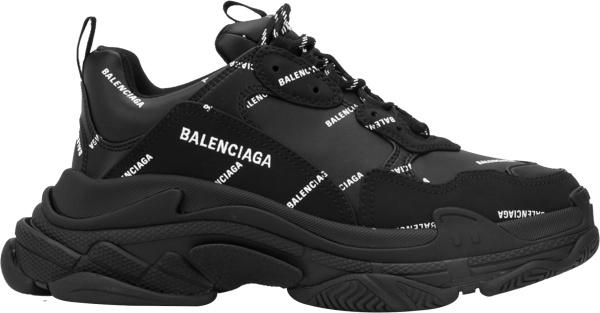Balenciaga Black And Allover Logo Triple S Sneakers 536737w2fa11090