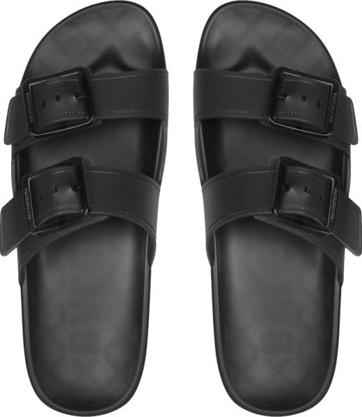 Balenciaga Black And Clear Mallolca Sandals