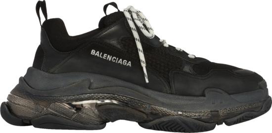Balenciaga Black And Clear Tripe S Sneakers