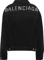 Balenciaga Black And Crystal Logo Denim Jacket