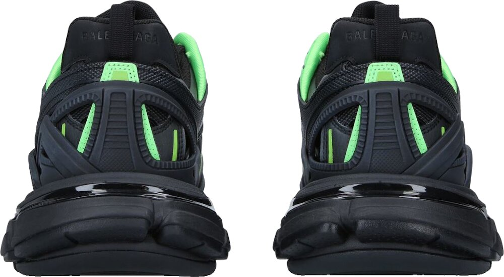 Balenciaga Black And Green Track Trainers