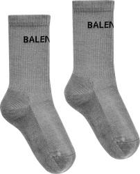 Balenciaga Black And Grey Logo Tennis Socks