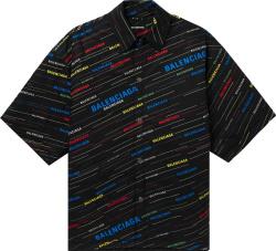 Balenciaga Black And Multicolor Diagonal Logo Padded Shirt