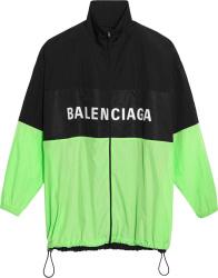 Balenciaga Black And Neon Green Windbreaker Jacket
