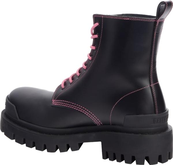 Balenciaga Black And Pink Strike Comber Boots