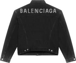 Balenciaga Black Denim And Strass Logo Jacket