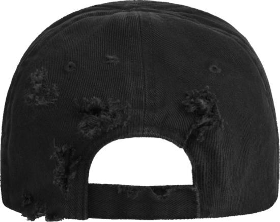Balenciaga Black Distressed Bb Laurel Logo Hat
