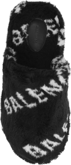 Balenciaga Black Fur Home 2 Mule