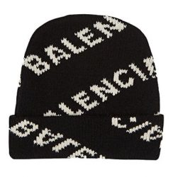Balenciaga Black Knit Beanie With Allover Logo Print In White Worn By 2 Chianz