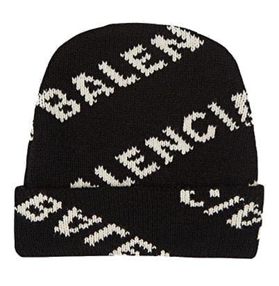ead146b2 Balenciaga Black Knit Beanie With Allover Logo Print In White Worn By 2  Chianz