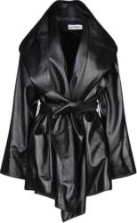 Balenciaga Black Leather Hooded Coat