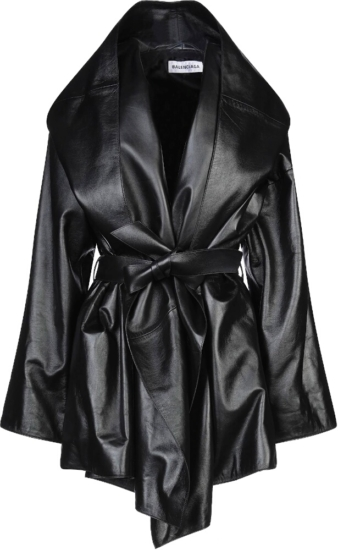 Balenciaga Black Leather Hooded Coat