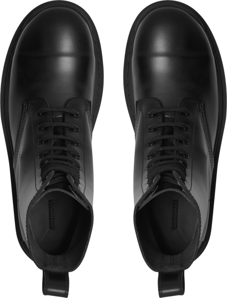 Balenciaga Black Leather Lace Up Strike Boots