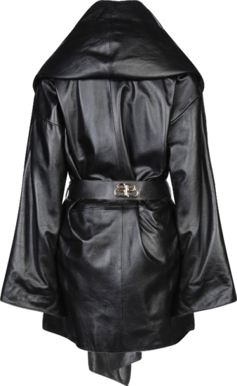 Balenciaga Black Leather Oversized Belted Coat