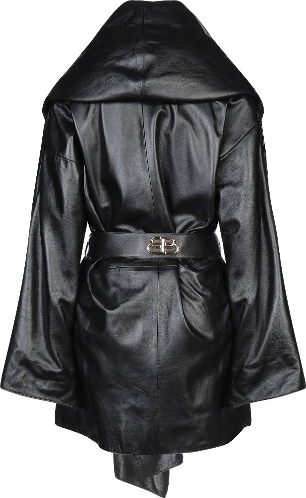 Balenciaga Black Leather Oversized Belted Coat
