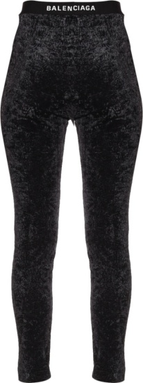 Balenciaga Black Leggings Velvet