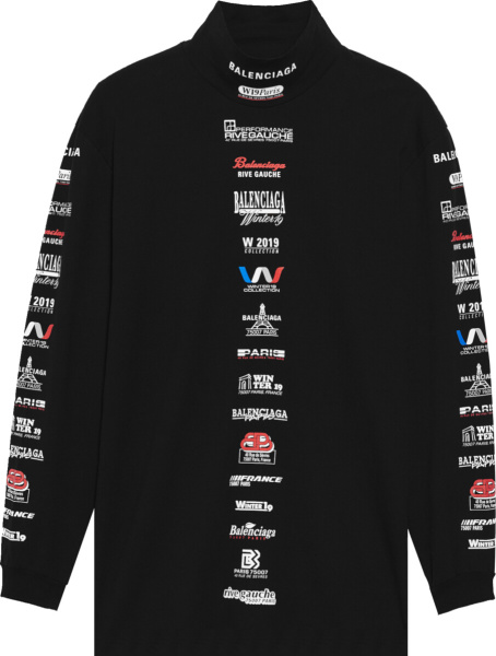Balenciaga Black List Logo Print Mock Neck T Shirt