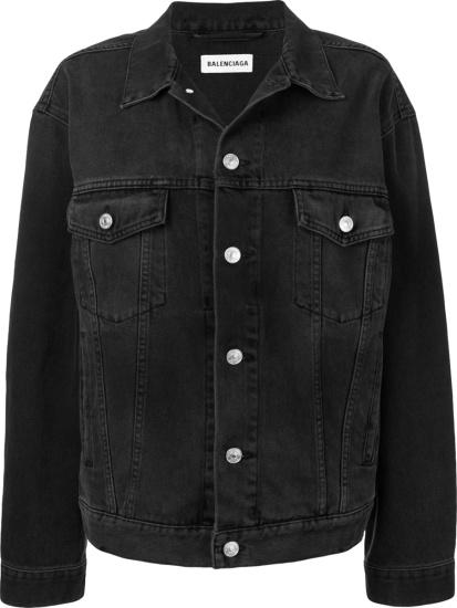 Balenciaga Black Logo Embellished Denim Jacket