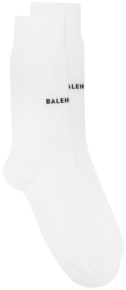 Balenciaga Black Logo White Knit Socks Worn By Young Thug