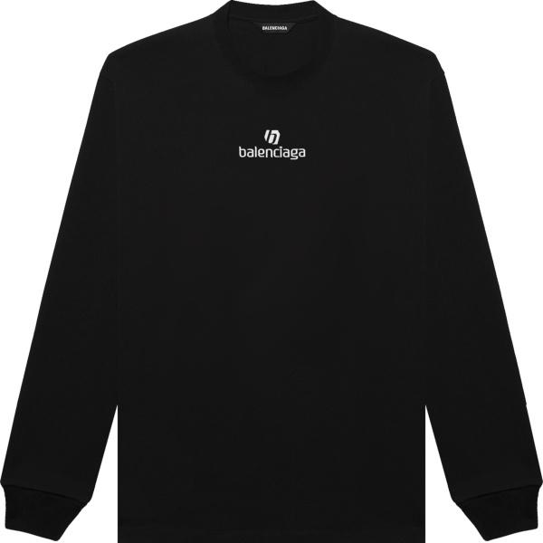Balenciaga Black Long Sleeve Sponsor Logo T Shirt