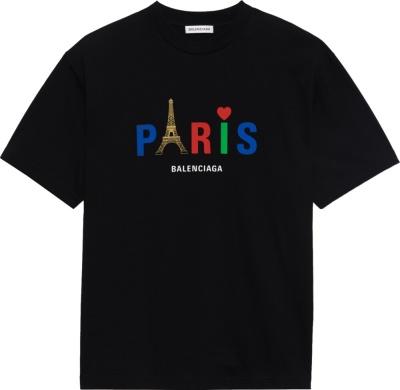 Balenciaga Black Paris Love T Shirt