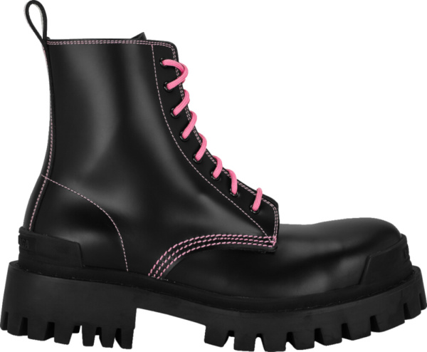 Balenciaga Black Pink Combat Boots